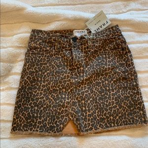 NWT! FRAME Denim Leopard Skirt